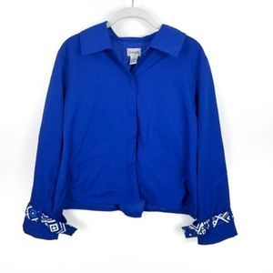 CHICO'S Royal Blue Printed Cuff Light Jacket 0 XS